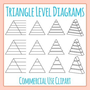 Triangle Level Diagrams Clip Art Set for Commercial Use