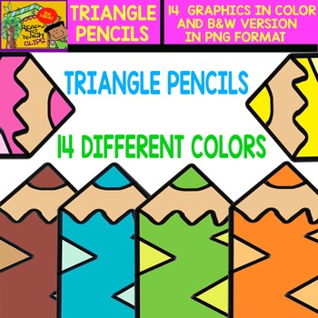 Triangle Pencil - Cliparts in 14 Different Colors