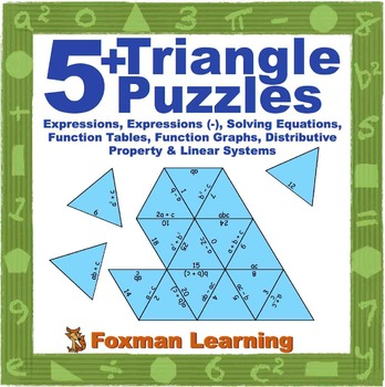 5 Triangle Puzzles for Middle School Math Expressions & Eq
