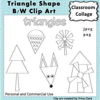 Triangle Shape Clip Art line drawings B/W personal & comme