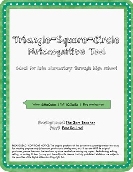 Triangle-Square-Circle Metacognitive Tool