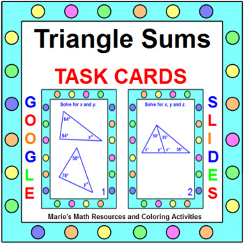 Triangle Sums - Task Cards