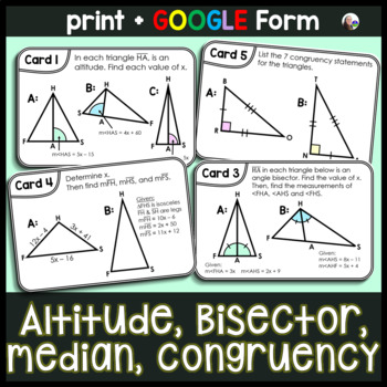 Triangle Task Cards: {altitude, angle bisector, median, co