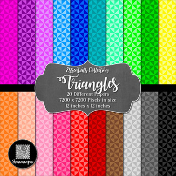 Triangles 12x12 Digital Paper (Basic Colors) - Commercial
