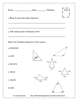 Triangles Pre and Post Test (Common Core Aligned) **WITH A