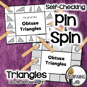 Triangles (acute, obtuse, right) - A Pin & Spin Activity