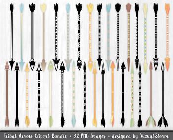 Tribal Arrow Clip Art Bundle, 32 Native American Arrows an