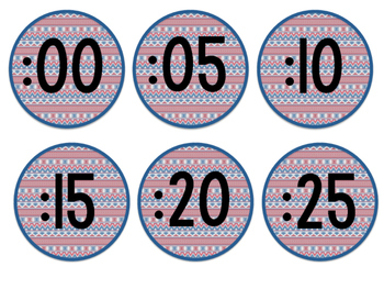 Tribal Decor Clock Labels {Navy & Red}