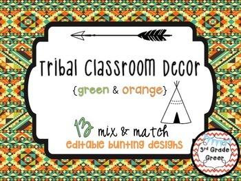 Tribal Decor Editable Banners {Green & Orange}