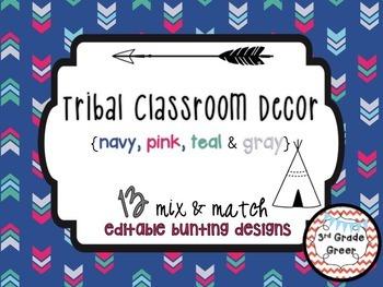 Tribal Decor Editable Banners {Navy, Pink, Teal & Gray}