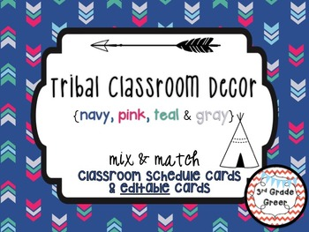 Tribal Decor Schedule Cards & Editable Cards {Navy, Pink,