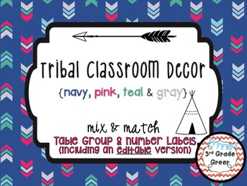 Tribal Decor Table Group & Number Labels {Navy, Pink, Teal