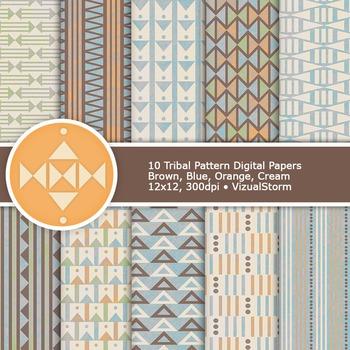 Neutral Tribal Digital Paper, 10 Printable Native American