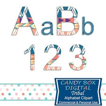 Tribal, Native, Indian Alphabet Clip Art