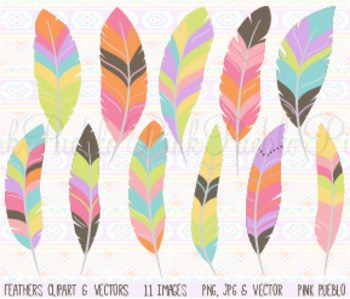 Tribal Pastel Feather Clipart Clip Art - Commercial and Pe