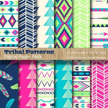 Tribal Patterns Brights Digital Paper Pack  (3001)