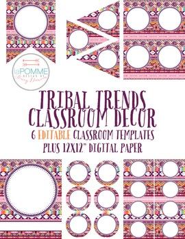 Tribal Trends Classroom Decor EDITABLE Templates Pack Bann