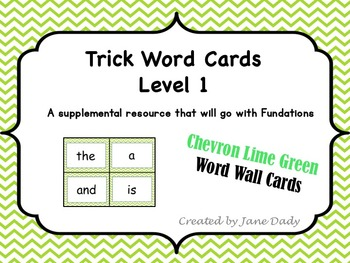 Trick Words - Level 1 Chevron Lime Green