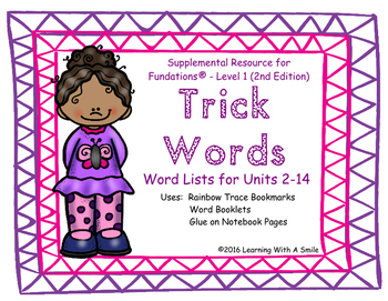 Trick Words Level 1 Word Lists - Trick Word Bookmarks or S