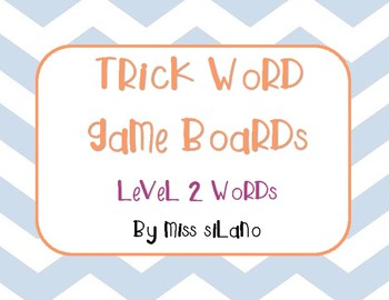 Trick Words Level 2 Game Boards