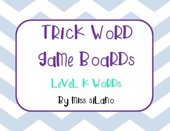 Trick Words Level K Game Boards