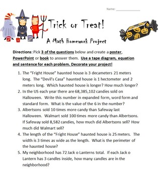 Trick of Treat: A Fourth Grade Halloween Math Homework Project
