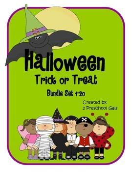 Halloween Trick or Treat 10 Frame Counting Mats Bundle Set (1-20)