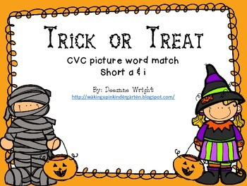 Trick or Treat CVC picture word match
