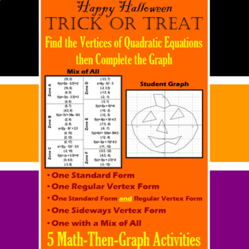 Trick or Treat - Finding Vertices - 4 Math-Then-Graph Activities