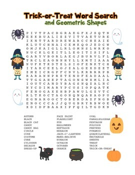 """Trick-or-Treat & Geometric Shapes"" – Word Search – Hallow"