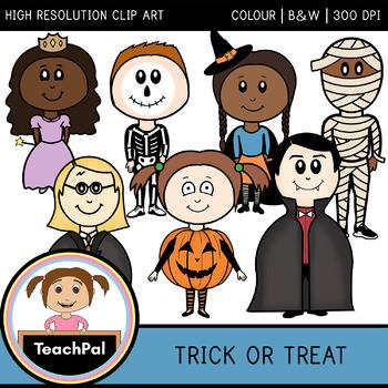 Trick or Treat - Halloween Dress Up Costume Kids Clip Art