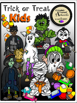 Trick or Treat Kids Clipart (12 FREE Elements Included)