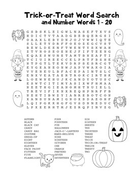 """Trick-or-Treat & Number Words"" – Word Search – Halloween"