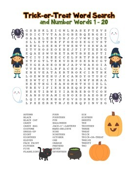 """""""Trick-or-Treat & Number Words"""" – Word Search – Halloween"""