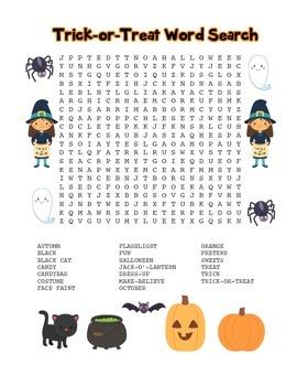 """Trick-or-Treat"" Word Search - Halloween Fun! (Full Color"