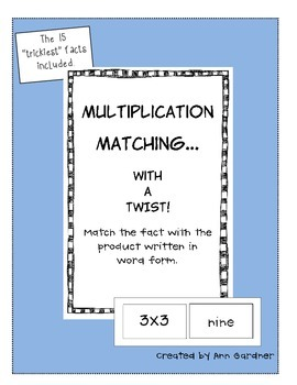 """""""Tricky 15"""" Multiplication Fact Matching - with a Twist!"""