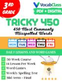 Tricky 450! 3rd Grade Spelling Workbook | 30 Weeks | Daily