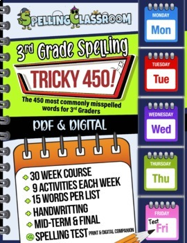 Tricky 450! 3rd Grade Spelling | 30 Weeks |Daily Lessons |