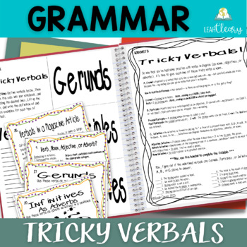 Tricky Verbals Task Cards and Interactive Notebook Materials