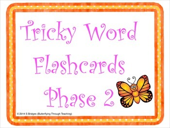 Tricky Word Flashcards Phase 2