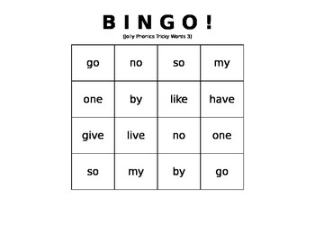 Tricky Words BINGO set #3