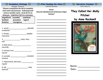 Harcourt Journeys They Called Her Molly Pitcher Trifold Grade 5