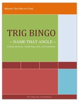 Trig Bingo Name That Angle