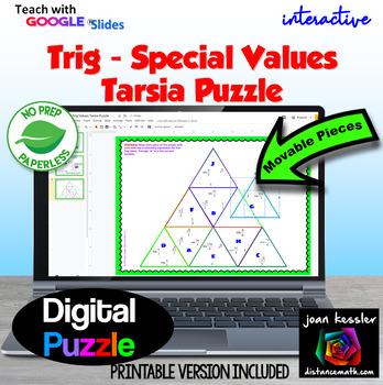 Trig Digital Interactive Special Values Tarsia Puzzle with