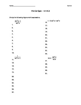 Trig Identies and Proofs Quiz