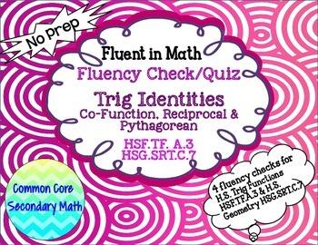 Trig Identities - Basic Fluency Check / Quiz: No Prep Flue