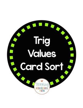 Trig Special Values Card Sort