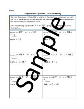 Trigonometric Equations 1 – Circuit Training