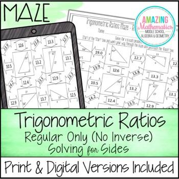 Trigonometric Ratios (Sine, Cosine & Tangent ) Maze - Solv