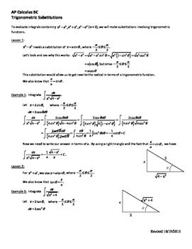 Trigonometric Substitution Worksheet - AP Calculus BC